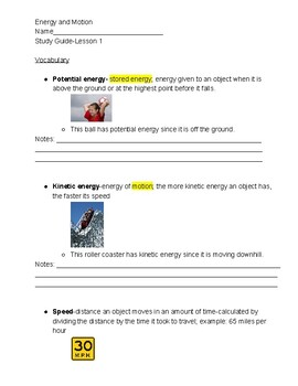 Energy-Inspire Science Lesson 1 Study Guide