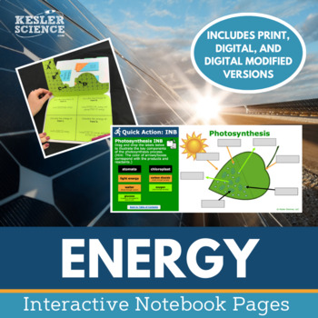 Energy Interactive Notebook Pages