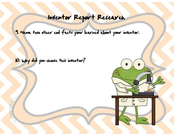 Inventor Report Graphic Organizer