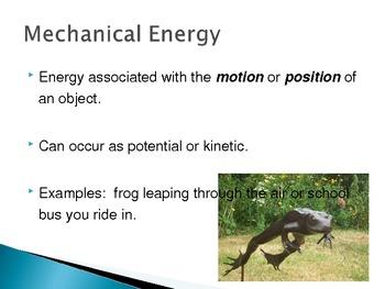Energy, Kinetic Energy, Potential Energy, & Types of Energy PowerPoint