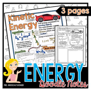 Energy: Kinetic, Gravitational Potential and Conservation | Science Doodle Notes