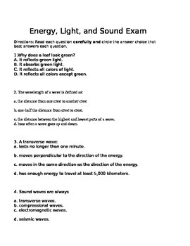 Energy Light and Sound Exam