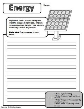 Energy: Main Idea Practice Prompts