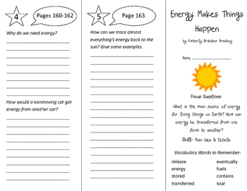 Energy Makes Things Happen Trifold - Imagine It 4th Grade Unit 2 Week 2