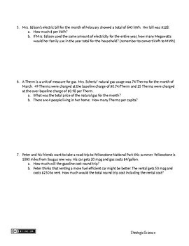 Energy Math Word Problems for AP Environmental Science, Physics and Math