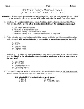 Energy, Motion, & Force Unit Test 6th gr Science