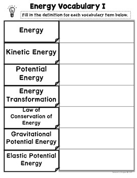 Energy Potential Kinetic and Forms Vocabulary Nonfiction Article and Activity