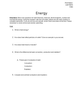 Energy Packet: Thermal, Electromagnetic, Chemical, Nuclear & Mechanical  Energy
