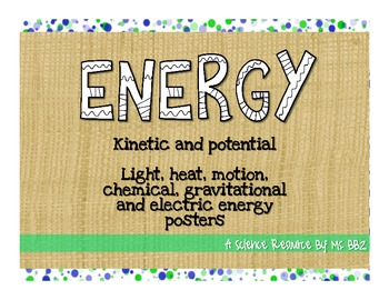 Energy Posters: Kinetic and Potential Energy & Light, Heat, Motion Energies