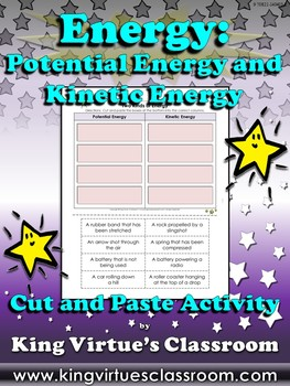 Energy: Potential and Kinetic Energy Cut and Paste Activity - Examples