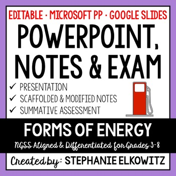 Forms of Energy PowerPoint, Notes & Exam