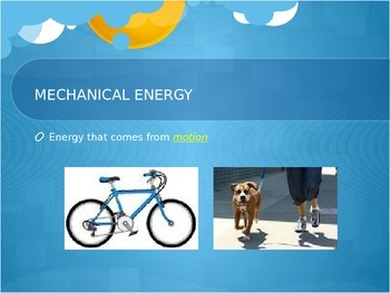 Energy PowerPoint for 5th grade