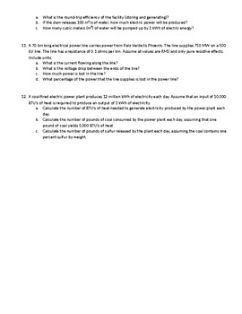 Environmental Science - Energy Calculation Word Problems