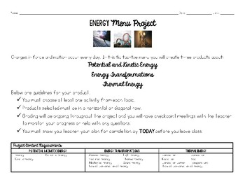 Energy Project Menu
