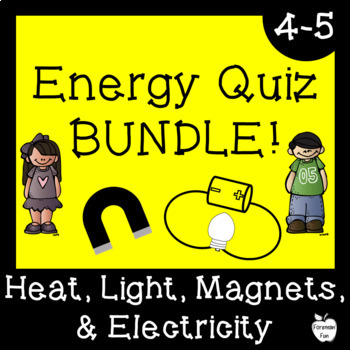 Energy Quiz BUNDLE! ~ Heat, Light, Magnets, & Electricity ~ 4th Grade