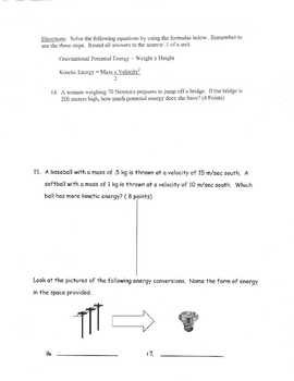 Energy Quiz (KE Kinetic transformations types)