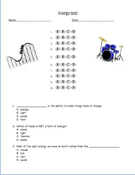 Energy Quiz - Multiple Choice Questions with bubble sheet