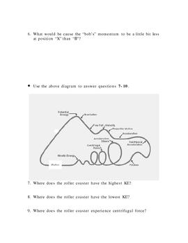 Energy Quiz (PE KE Roller Coasters Pendulum)