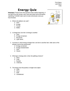 Energy Quiz, Pre-Assessment or Activity Packet on 5 Types of Energy