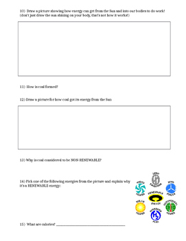 Energy Quiz, Test or Worksheet