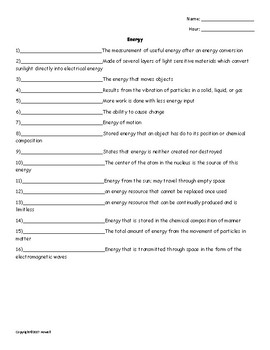 Energy Quiz or Worksheet for Physical Science