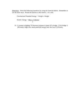 Energy Quiz  (physical science middle school)