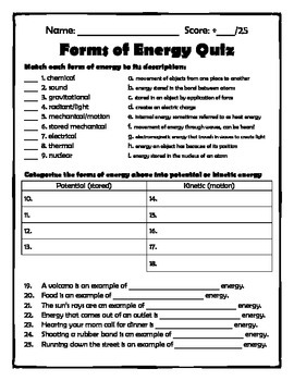 Energy Quizzes (heat transwer, sources of energy, forms of energy)