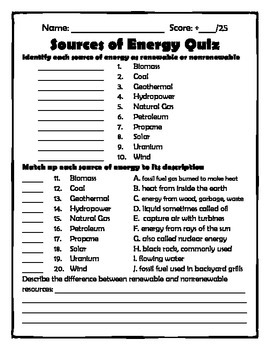 Energy Quizzes (heat transwer, sources of energy, forms of