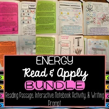 Energy Interactive Notebook Read and Apply BUNDLE