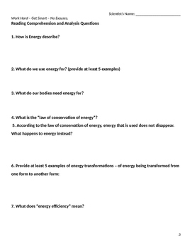Energy Reading Comprehension and Activities