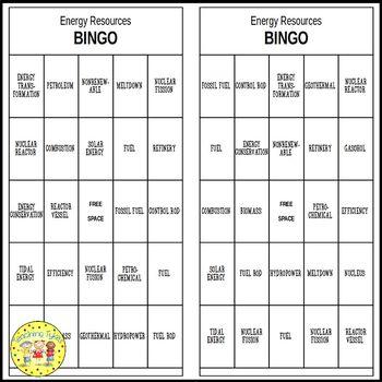 Energy Resources Bingo