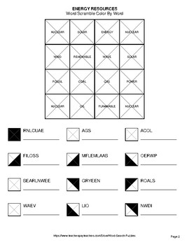 Energy Resources - Color By Word & Color By Word Scramble Worksheets