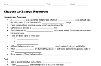 Energy Resources / Conservation - Cloze / Scaffolded Notes