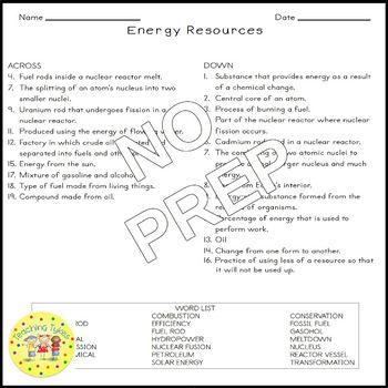 Energy Resources Crossword Puzzle