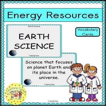 Energy Resources Vocabulary Cards