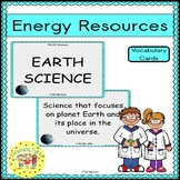 Energy Resources Vocabulary Cards