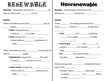 Energy Resources Foldable - Renewable and Nonrenewable