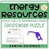 Energy Resources: Nonrenewable Resource Crossword Puzzle