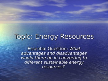 Energy Resources Notes
