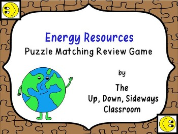 Energy Resources Puzzle Matching Vocabulary Review Game