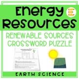 Energy Resources: Renewable Resources Crossword Puzzle