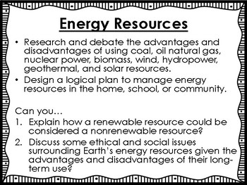 Energy Resources Science Unit Overview Student Booklet (STAAR questions)