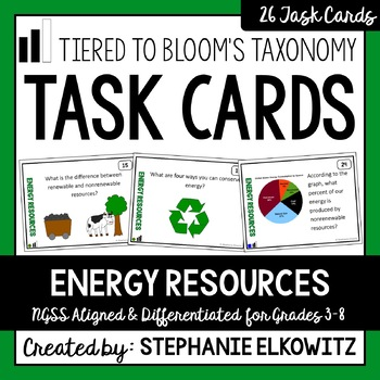Energy Resources Task Cards (Differentiated and Tiered)