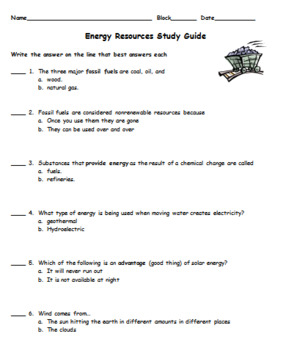 Energy Resources Test and Study Guide