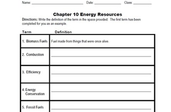 Energy Resources - Vocabulary Package