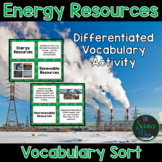 Energy Resources Vocabulary Sort