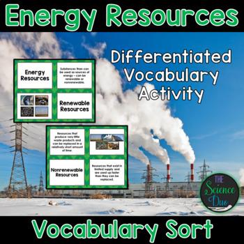Energy Resources Vocabulary Sort