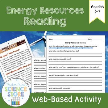 Energy Resources Web-Quest Reading Activity