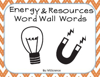 Energy & Resources Word Wall Words