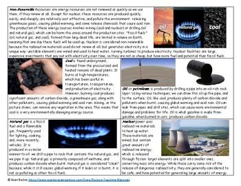 Energy Resources Worksheet Key